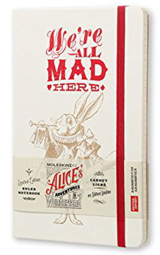Moleskine Alice's Adventures in Wonderland Limited Edition Notebook, Large, Ruled, White